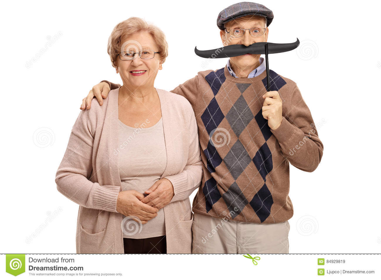 mature woman and a mature man with big fake moustache stock image
