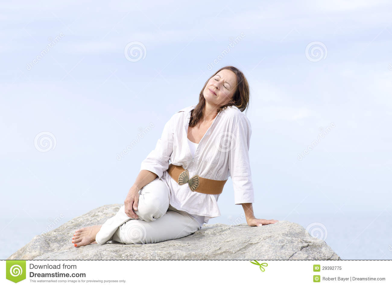 Mature Woman Peaceful Relaxed Outdoor Isolated Royalty Free Stock Image