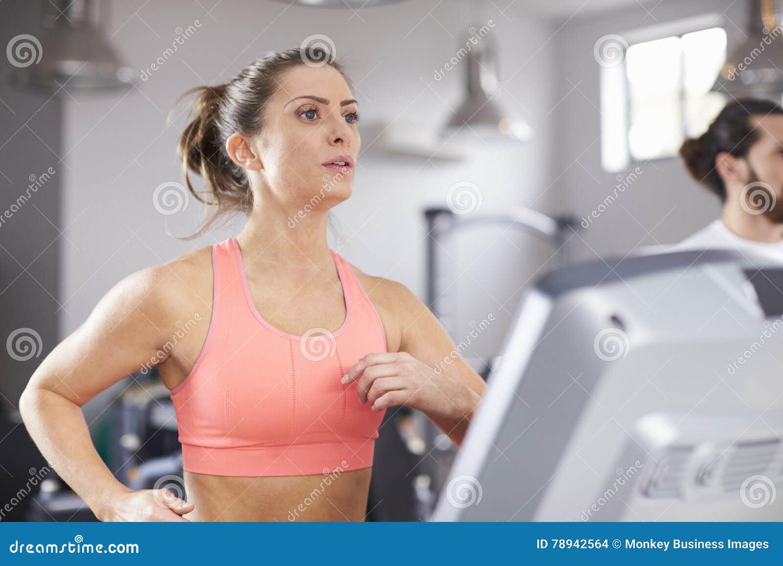 Busty women running on treadmills-8540