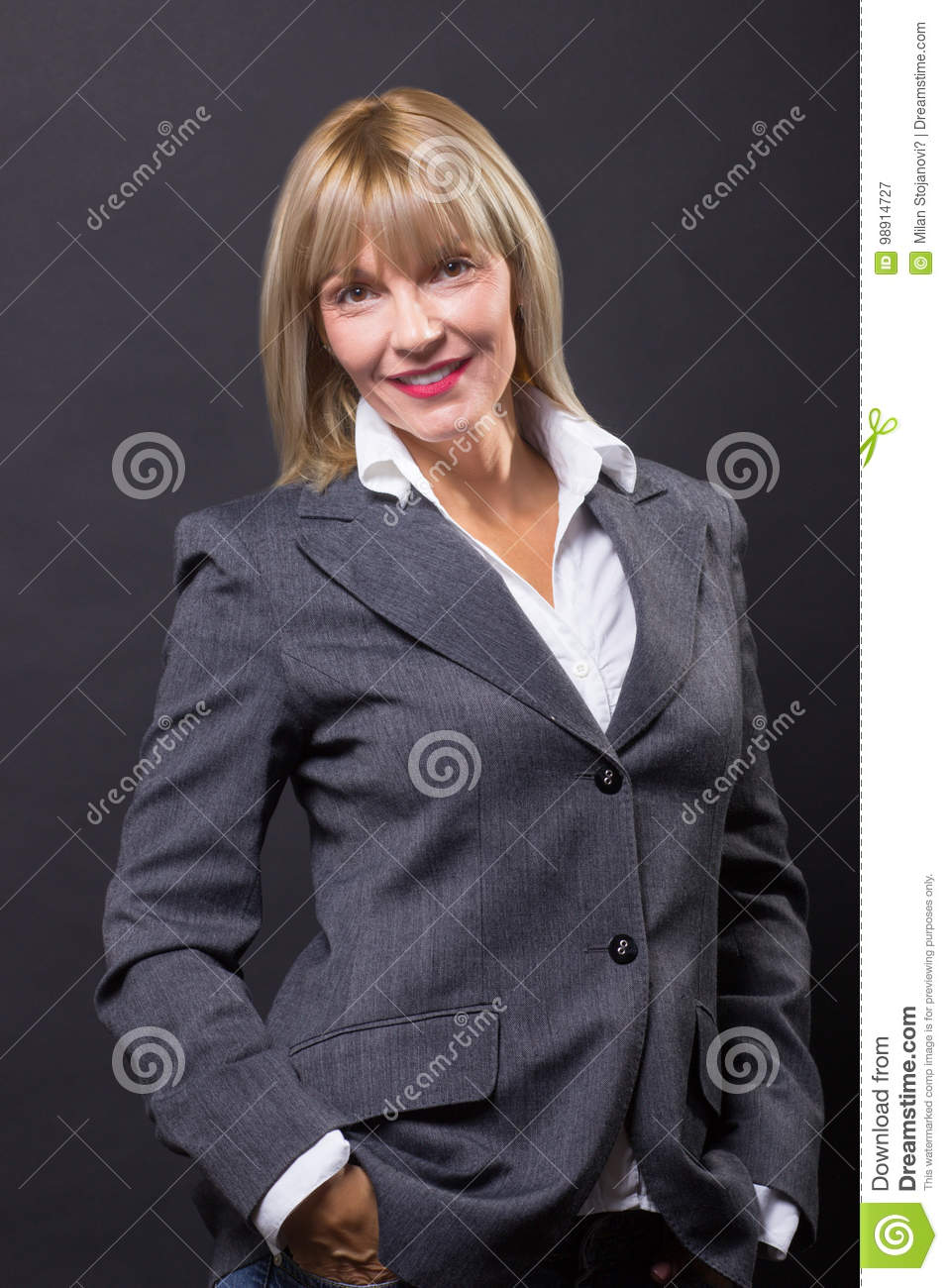 Mature woman 40s years beautiful suit smiling