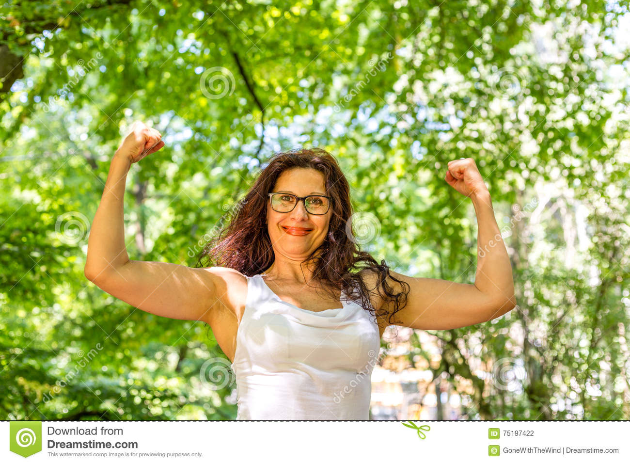 Mature Woman Showing Off Muscles Stock Photo Image Of Arms