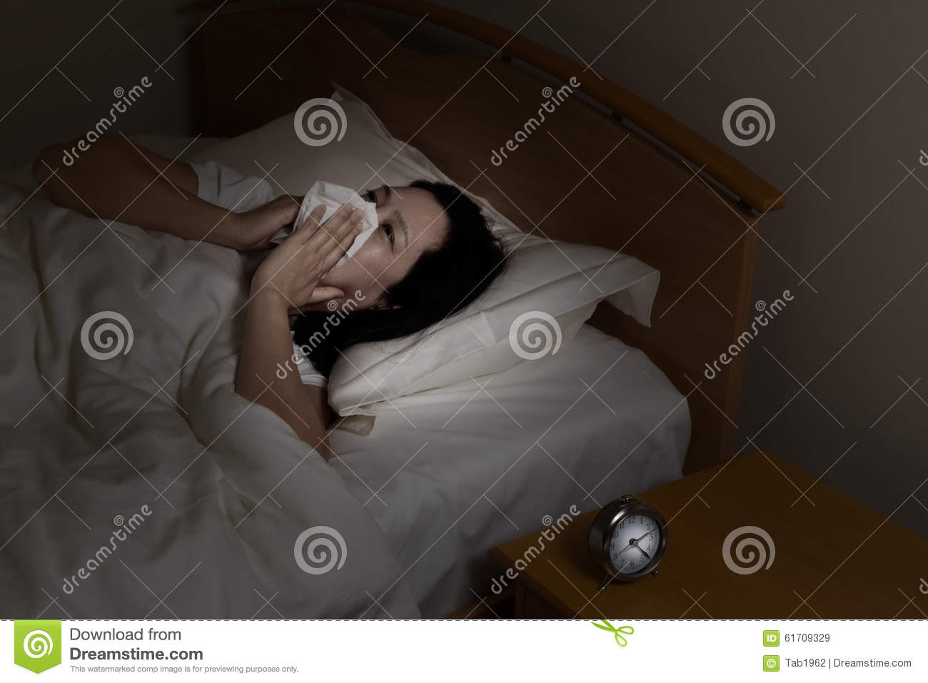 Bedroom at night time - Mature Woman Sick While Lying In Bed At Night Time Royalty Free Stock Images