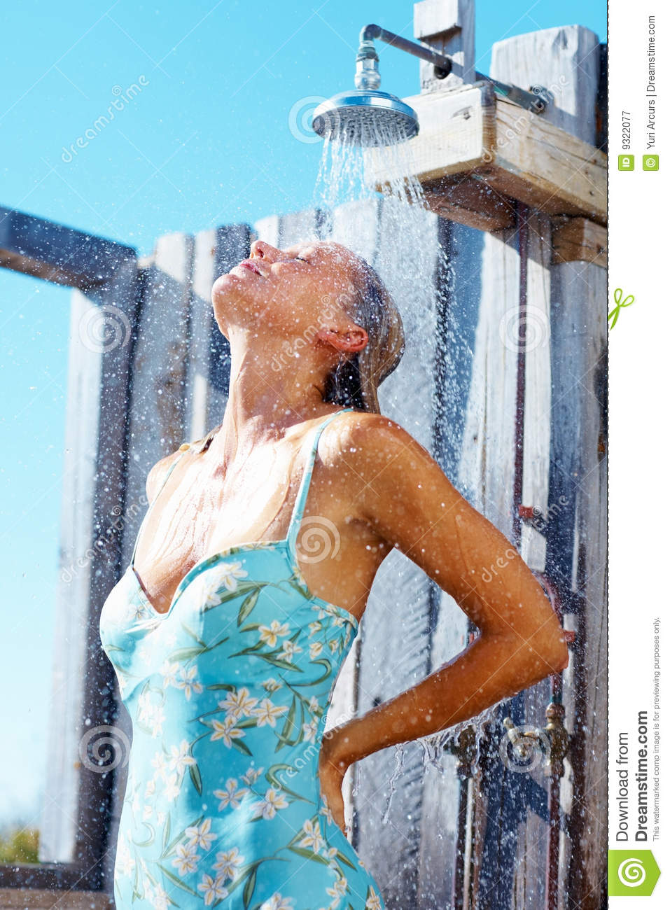 Mature Woman Taking A Shower Outdoors Stock Image - Image -2321