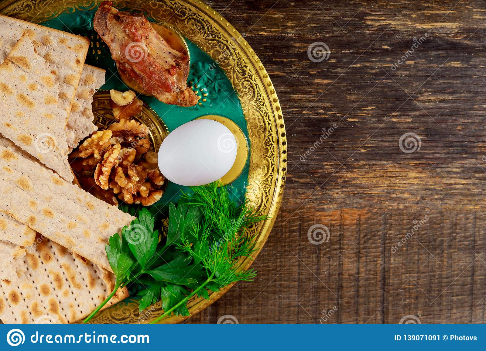 Matzo for Passover with Seder on plate on table close up