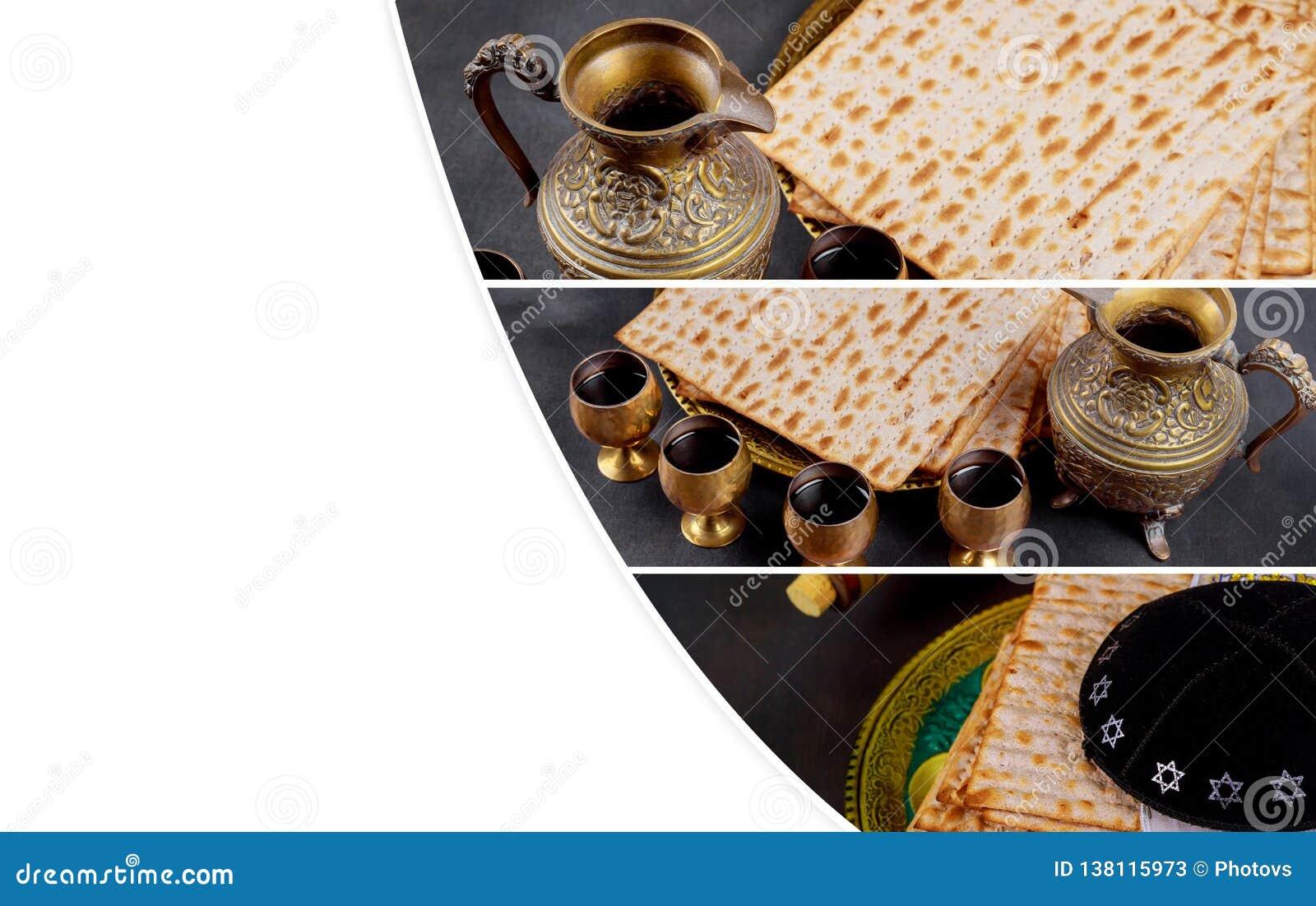 Matzot i cztery szkła czerwone wino symbole Passover