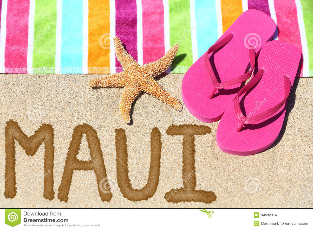... beach towel, summer sandals and starfish. Hawaiian vacation holidays