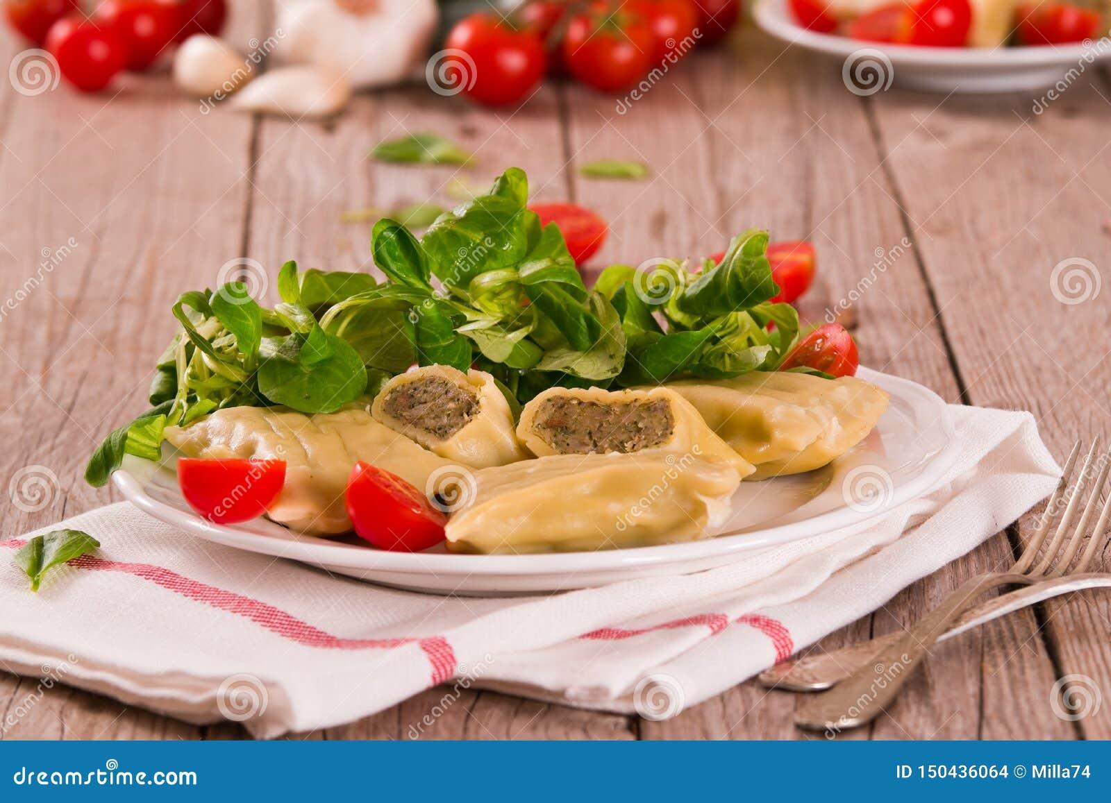 Maultaschen - swabian filled pasta  ravioli .