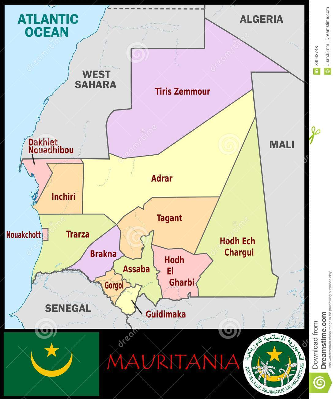 Mauritania Administrative Divisions Stock Illustration