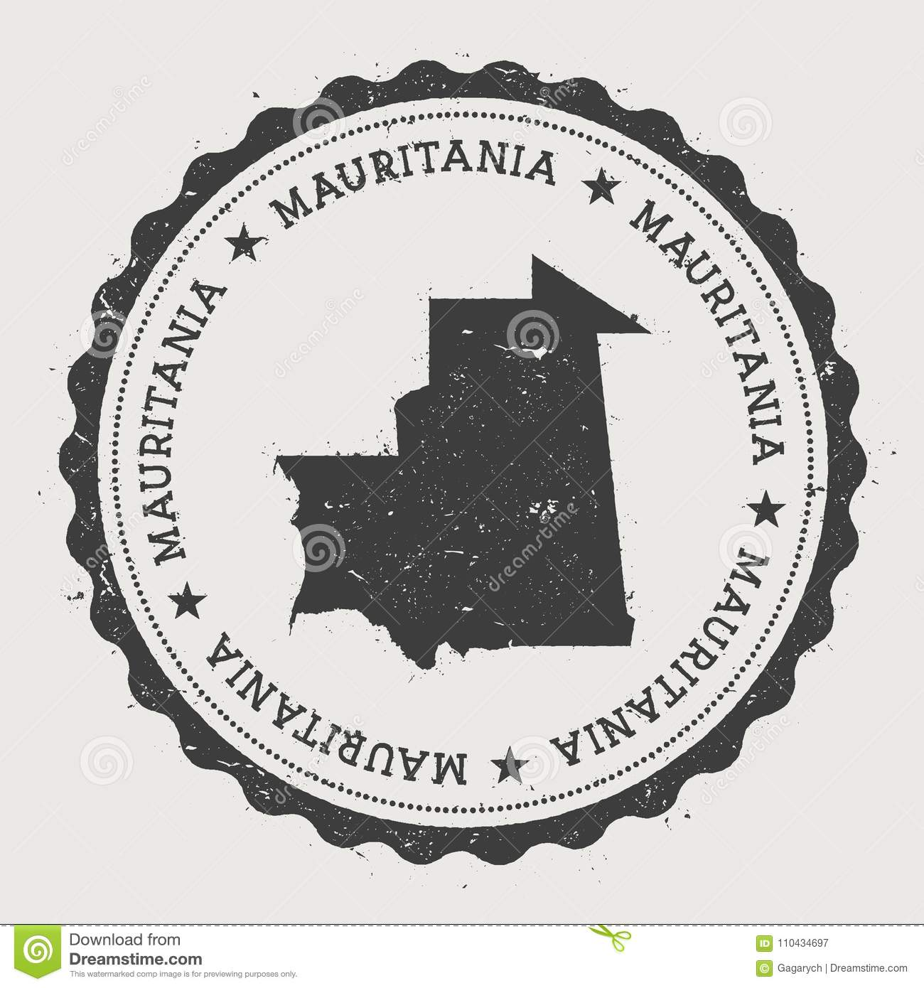 Mauritania Hipster Round Rubber Stamp With