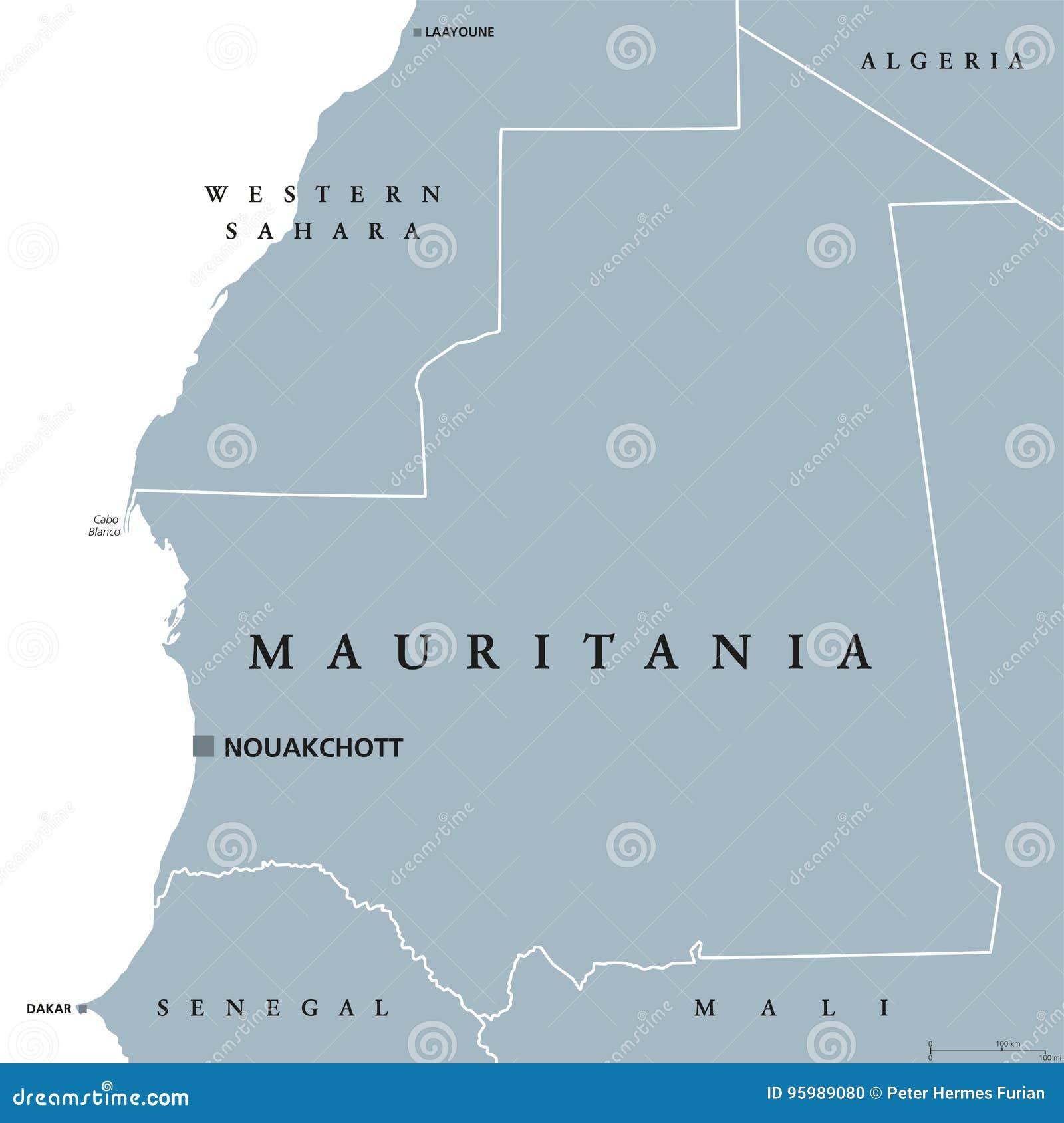 Mauritania political map stock vector illustration of nouakchott download comp ccuart Gallery
