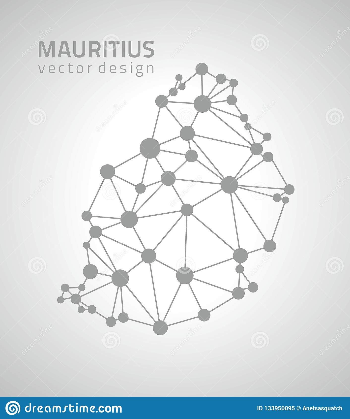 Mauritius Black Vector Outline Polygonal Triangle Map Stock ...