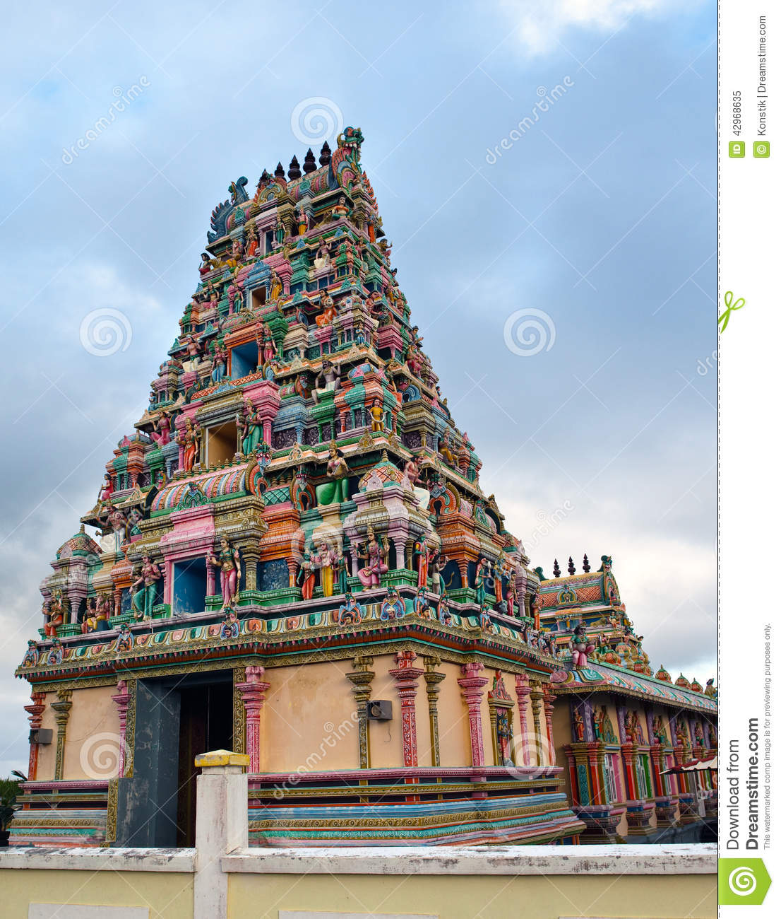 mauritius  hindu temple  stock image  image of architecture