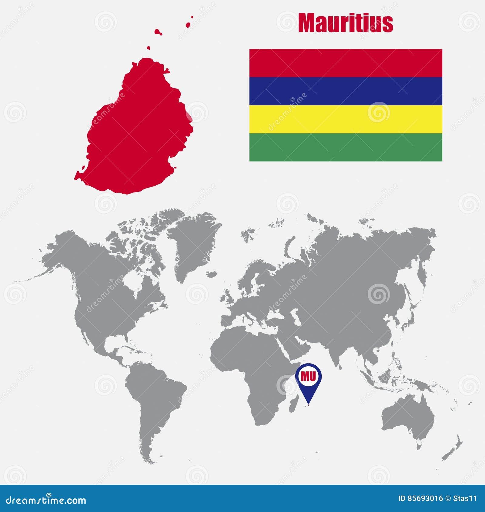 Mauritius Karte Auf Einer Weltkarte Mit Flaggen Und Kartenzeiger