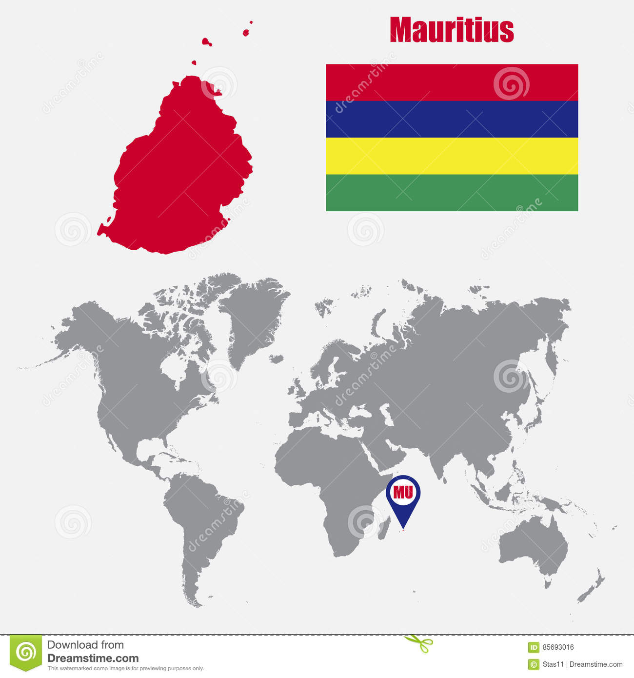Mauritius Map On A World Map With Flag And Map Pointer. Vector ...