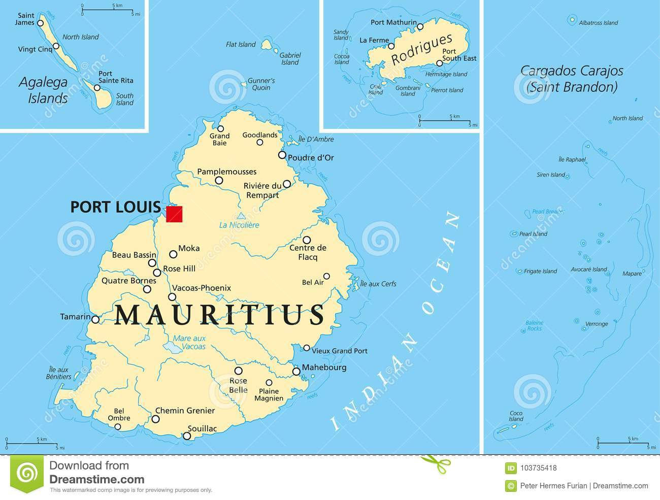 Mauritius Political Map stock vector  Illustration of