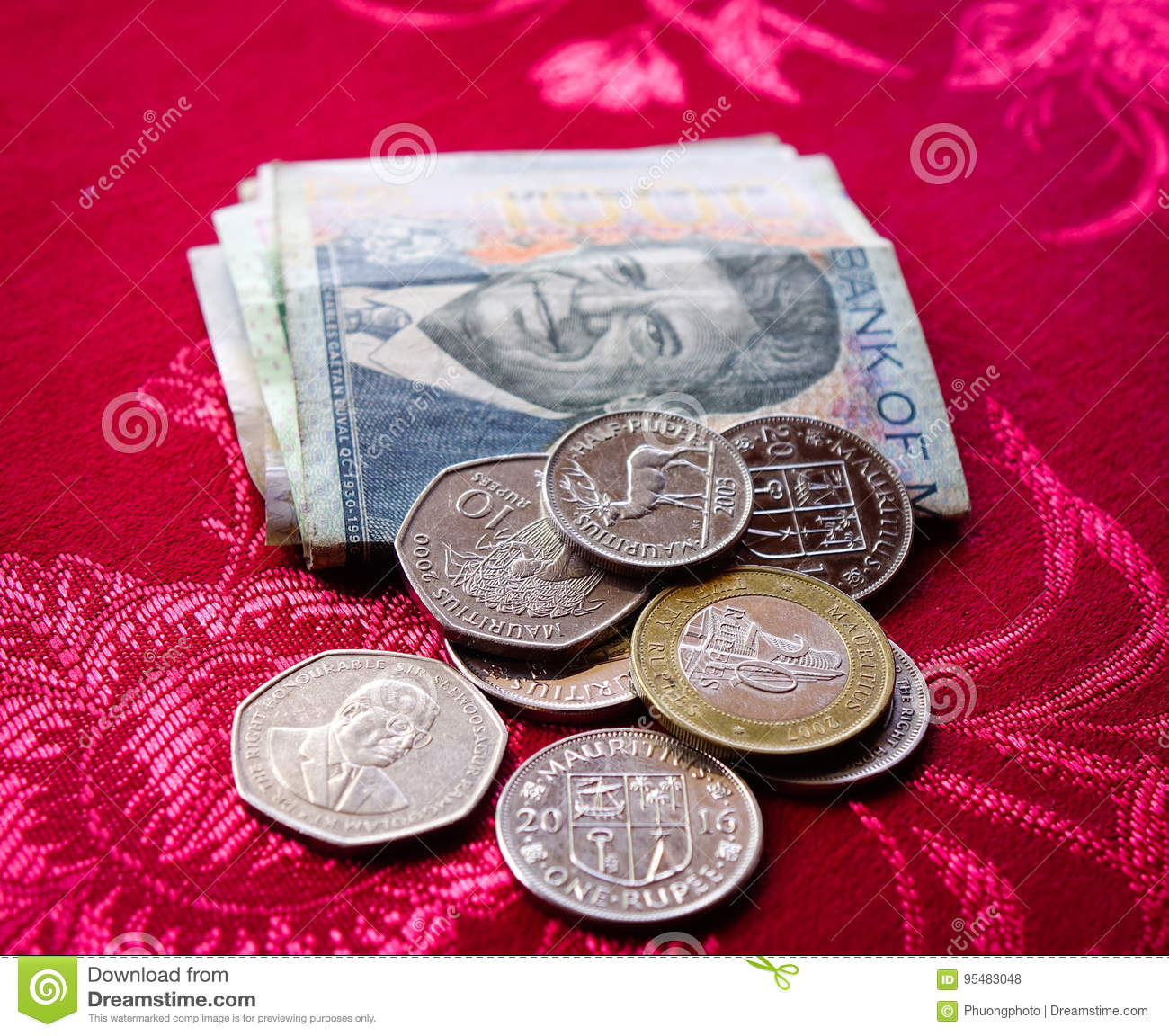 Mauritius Rupee Notes And Coins Stock Photo Image Of Background