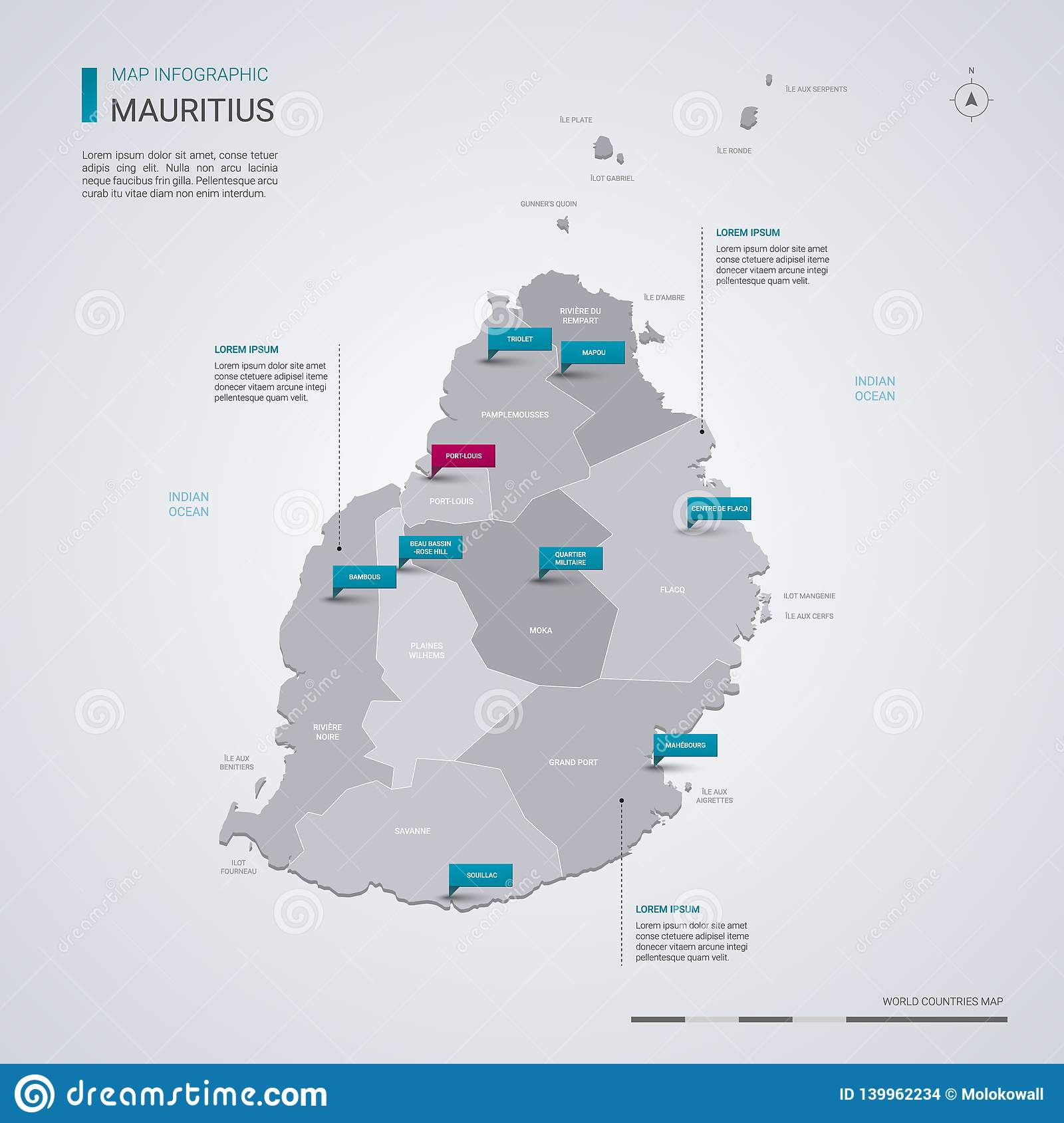 Mauritius Vector Map With Infographic Elements, Pointer ...