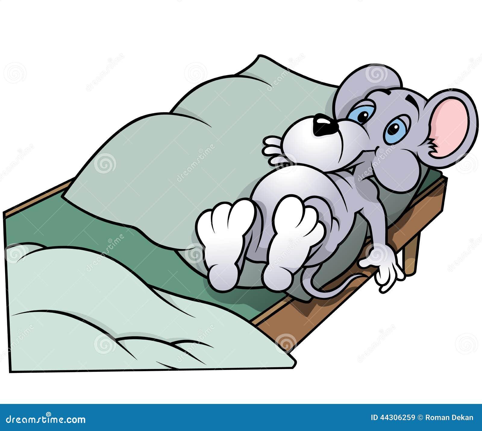 maus die in bett legt vektor abbildung illustration von isolat 44306259. Black Bedroom Furniture Sets. Home Design Ideas