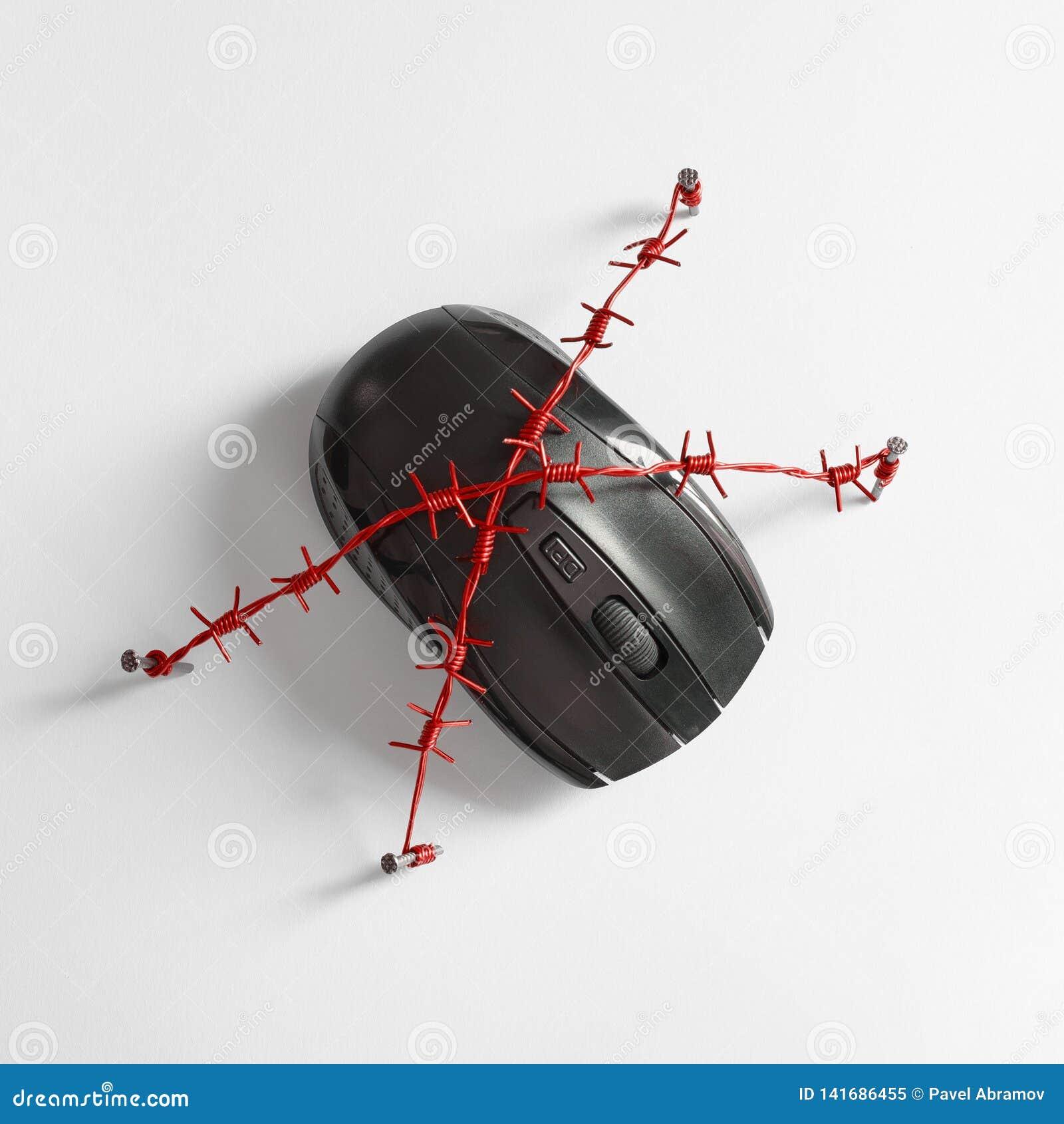 Maus mit rotem Stacheldraht Konzept für das Thema der menschlichen Abhängigkeit auf sozialen Netzwerken, dem Internet und Spielsu
