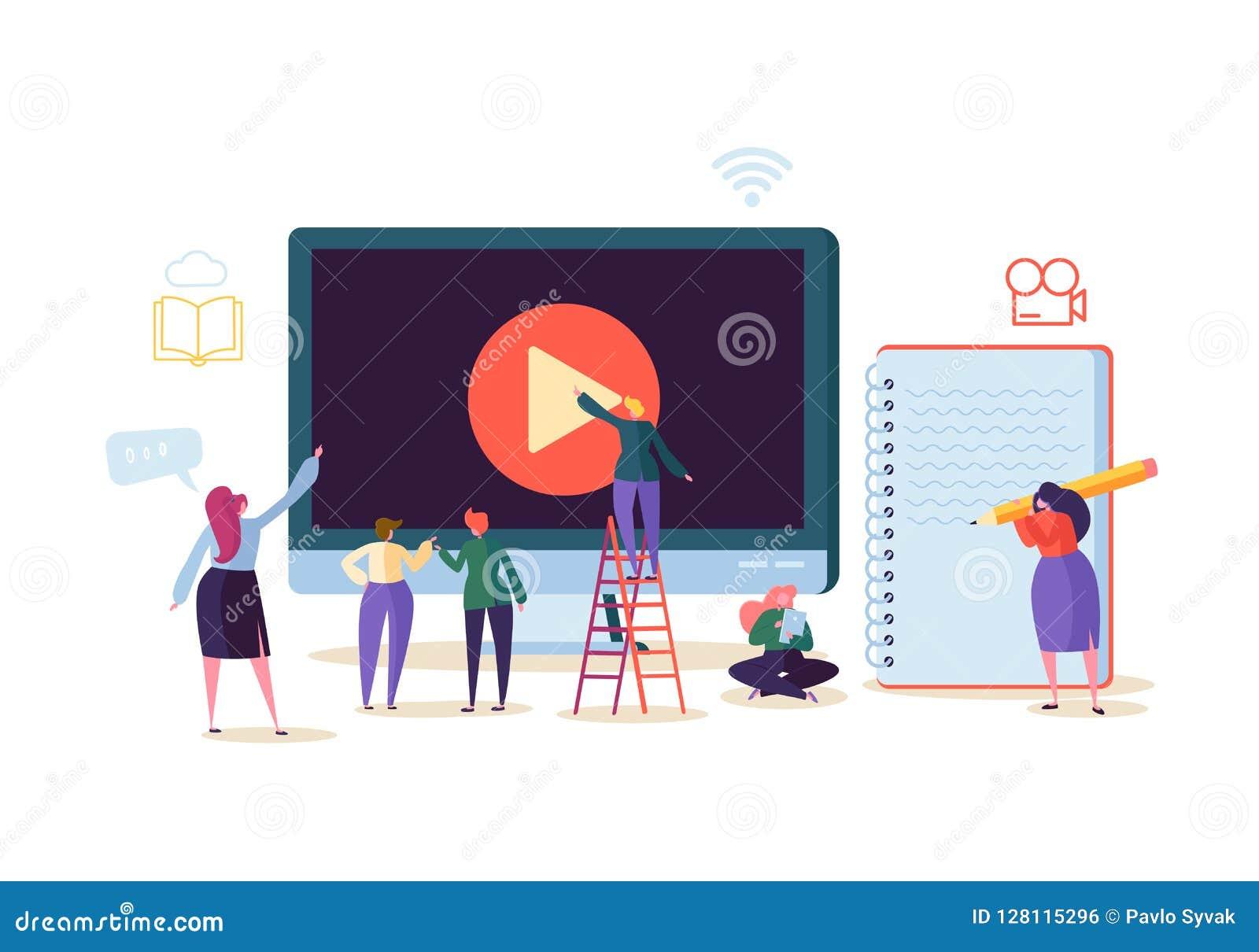Maus und Buch E-Learning mit den flachen Leuten, die Videokurs auf Computer strömend aufpassen Staffelungs-Universität