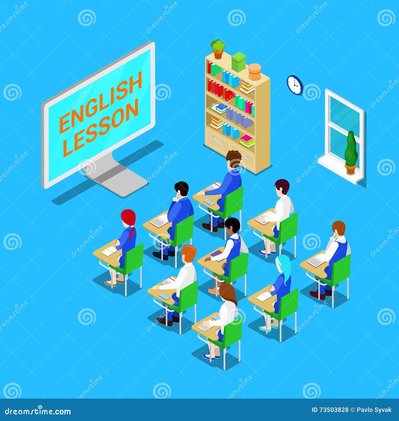 Maus und Buch Isometrisches Klassenzimmer mit Studenten auf englischer Lektion Vektor