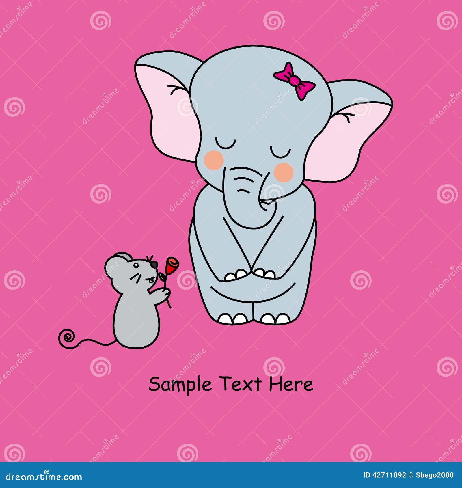 maus und elefant vektor abbildung illustration von karikatur 42711092. Black Bedroom Furniture Sets. Home Design Ideas