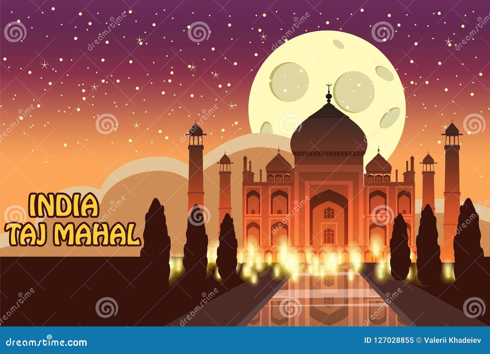 Mausoleum av Taj Mahal i Agra, Indien, historisk sikt, nattmåne, utsiktdragning, religion, tecknad filmstil, vektor
