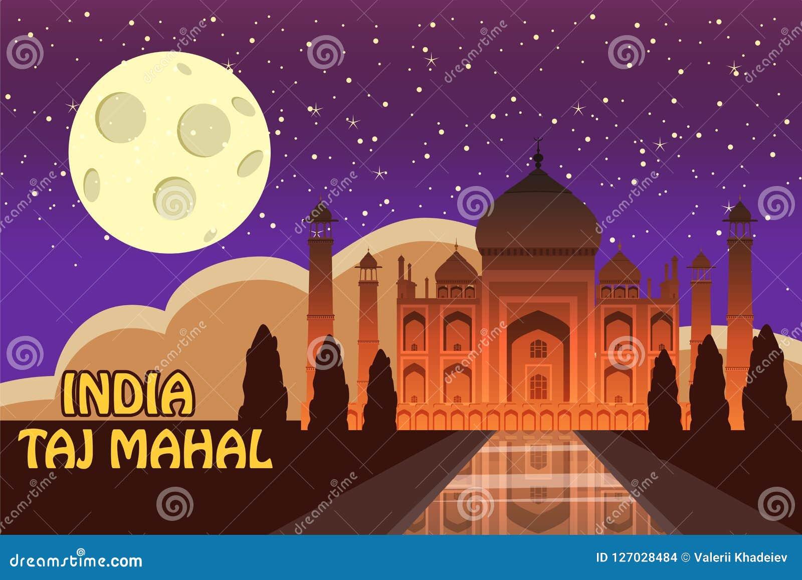 Mausoleum van Taj Mahal in Agra, India, historische mening, nachtmaan, uitzichtaantrekkelijkheid, godsdienst, beeldverhaalstijl,