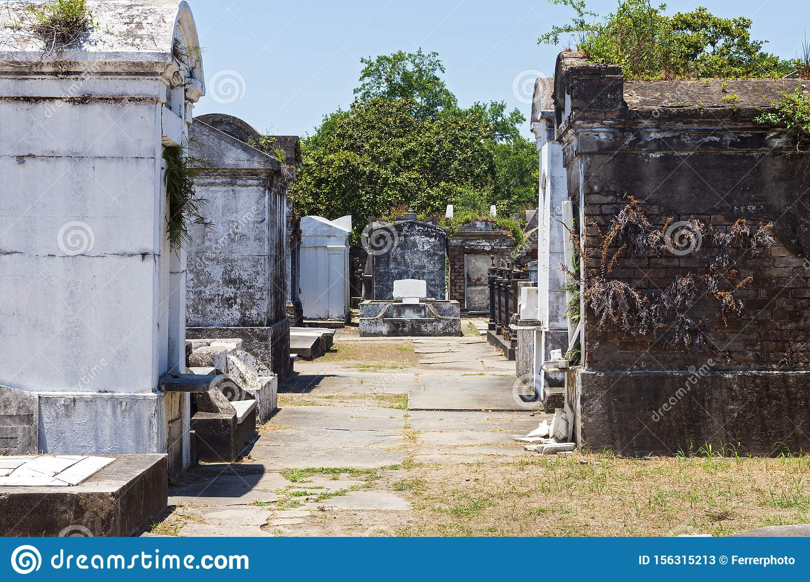 Mausoleums and Tombs at Historic Cemetery in New Orleans