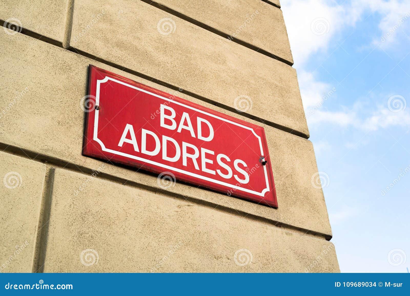 Mauvaise adresse