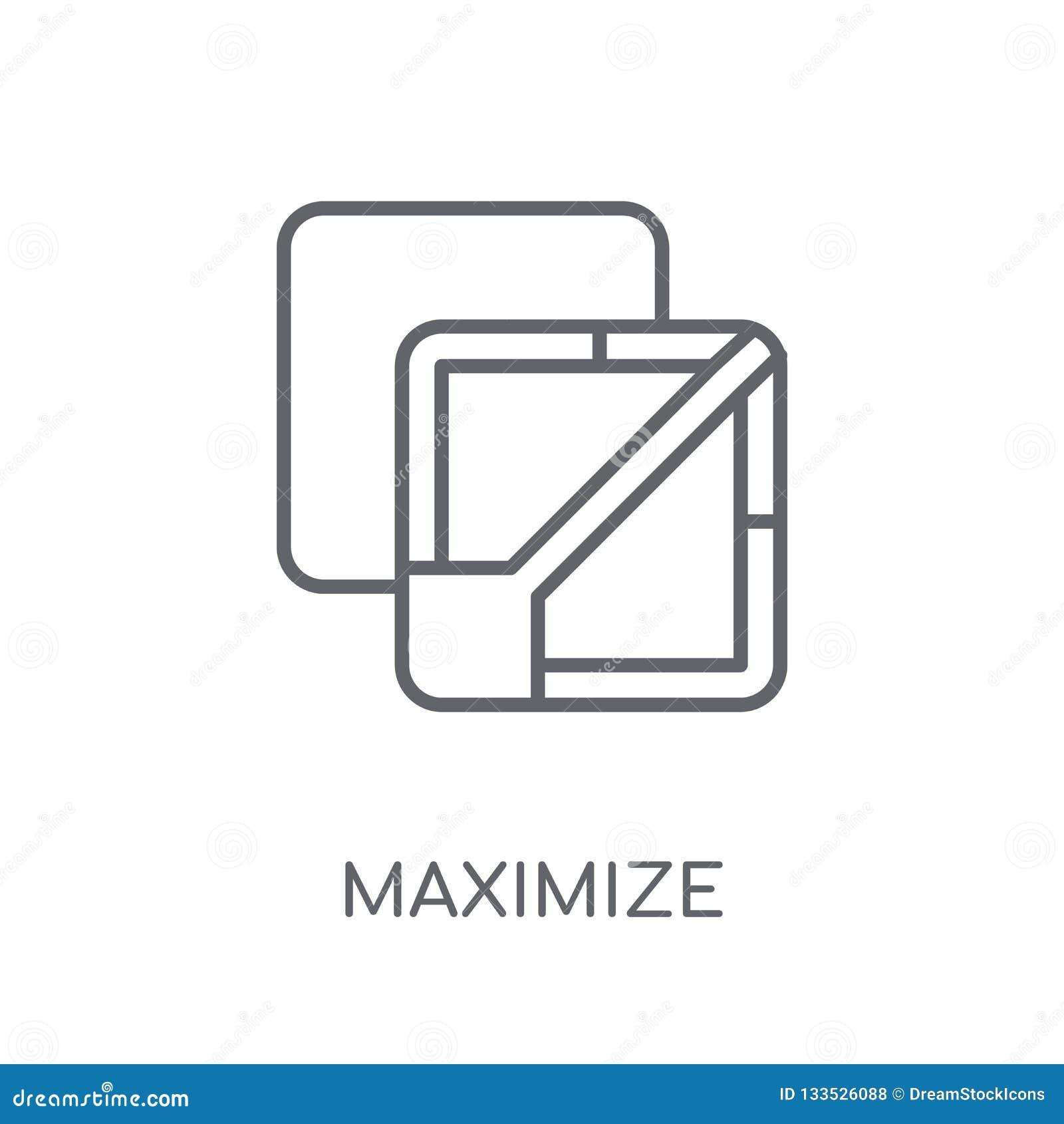 Maximaliseer lineair pictogram Het moderne overzicht maximaliseert embleemconcept op wh