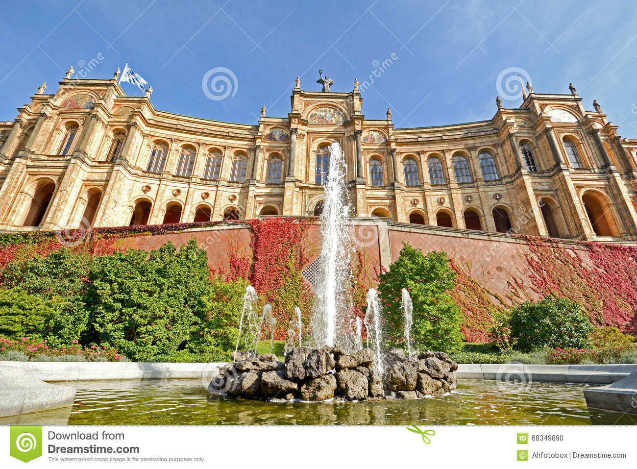 maximilianeum bayerischer landtag mit brunnen in m nchen bayern deutschland stockfoto bild. Black Bedroom Furniture Sets. Home Design Ideas