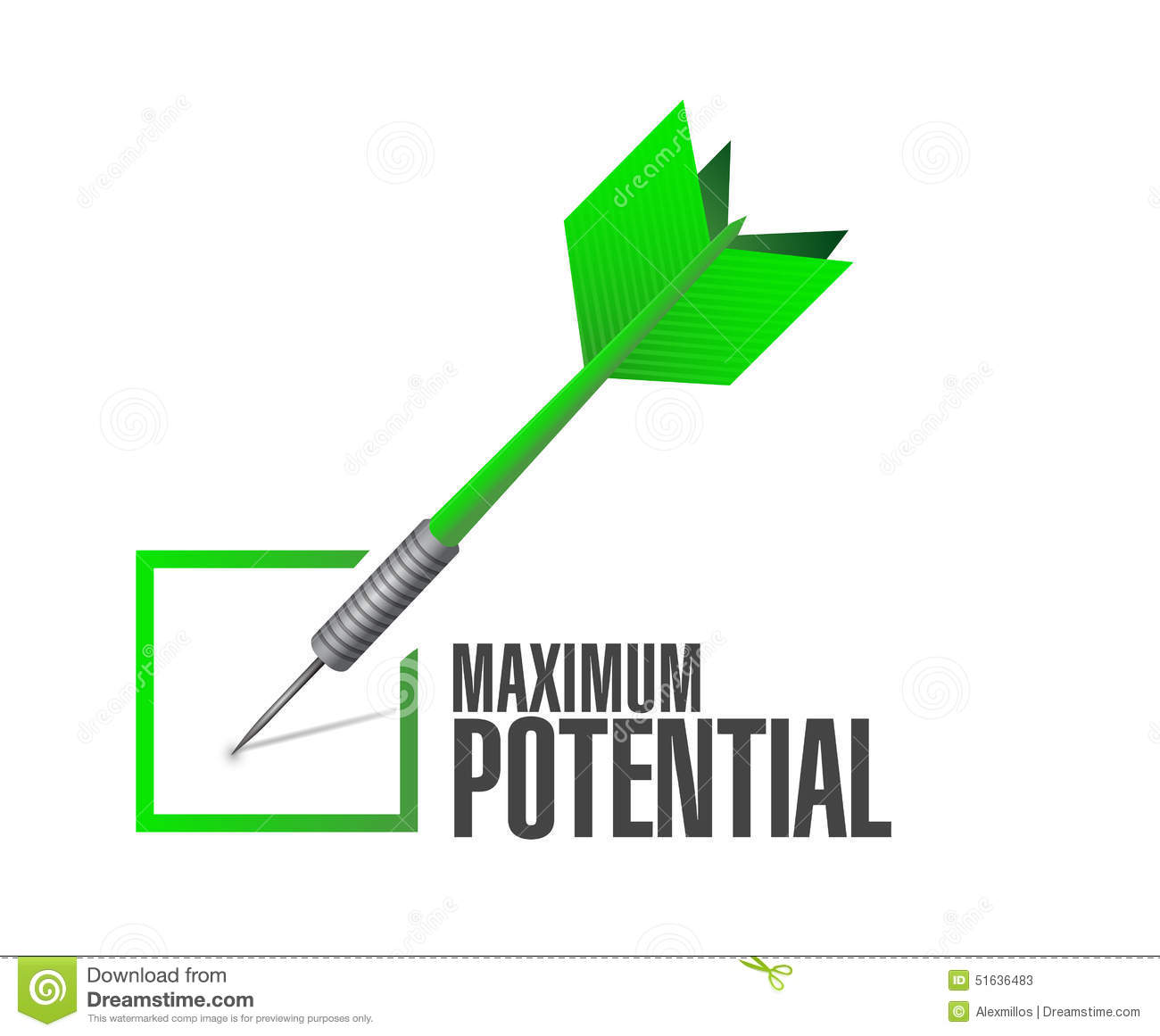 To Maximise The Potential Of: Maximum Potential Check Dart Sign Stock Illustration
