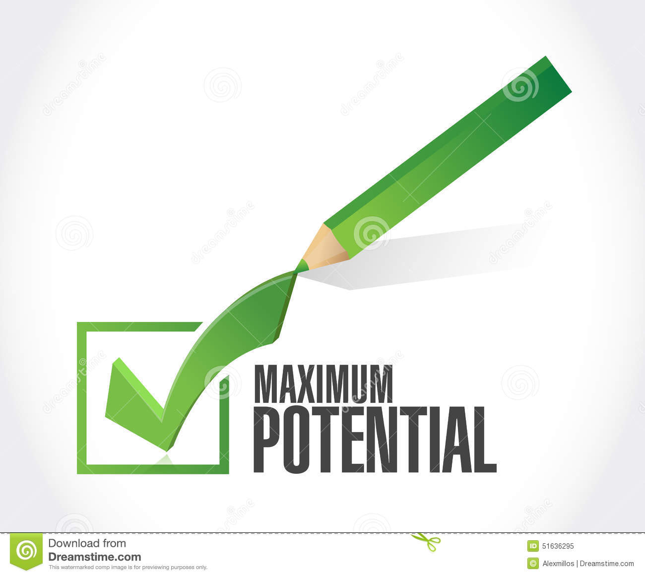 To Maximise The Potential Of: Maximum Potential Check Mark Sign Concept Stock