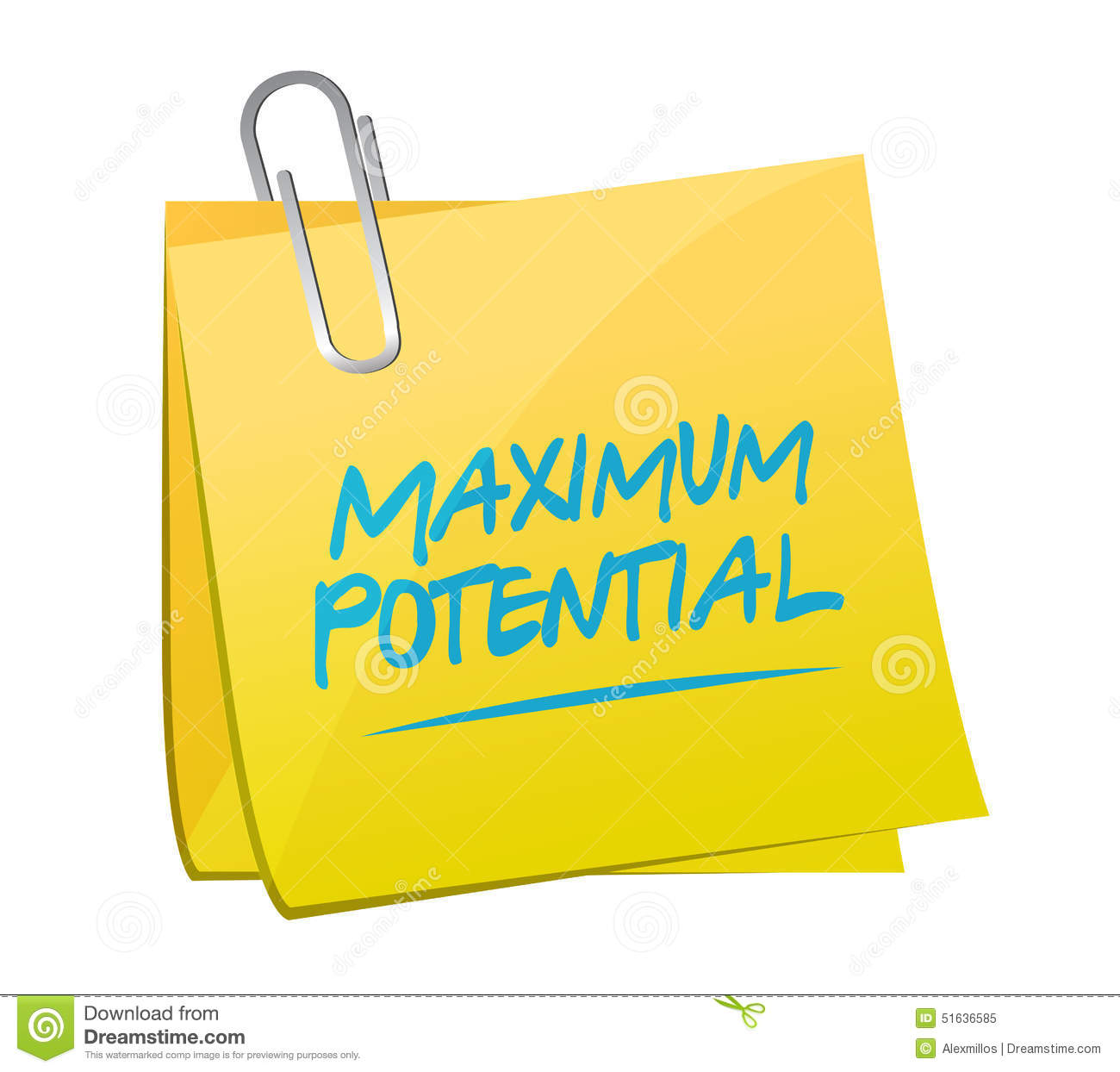 To Maximise The Potential Of: Maximum Potential Memo Sign Concept Illustration Stock