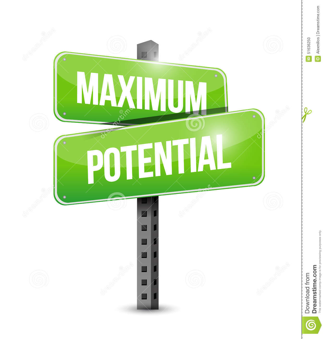 To Maximise The Potential Of: Maximum Potential Street Sign Concept Illustration Stock