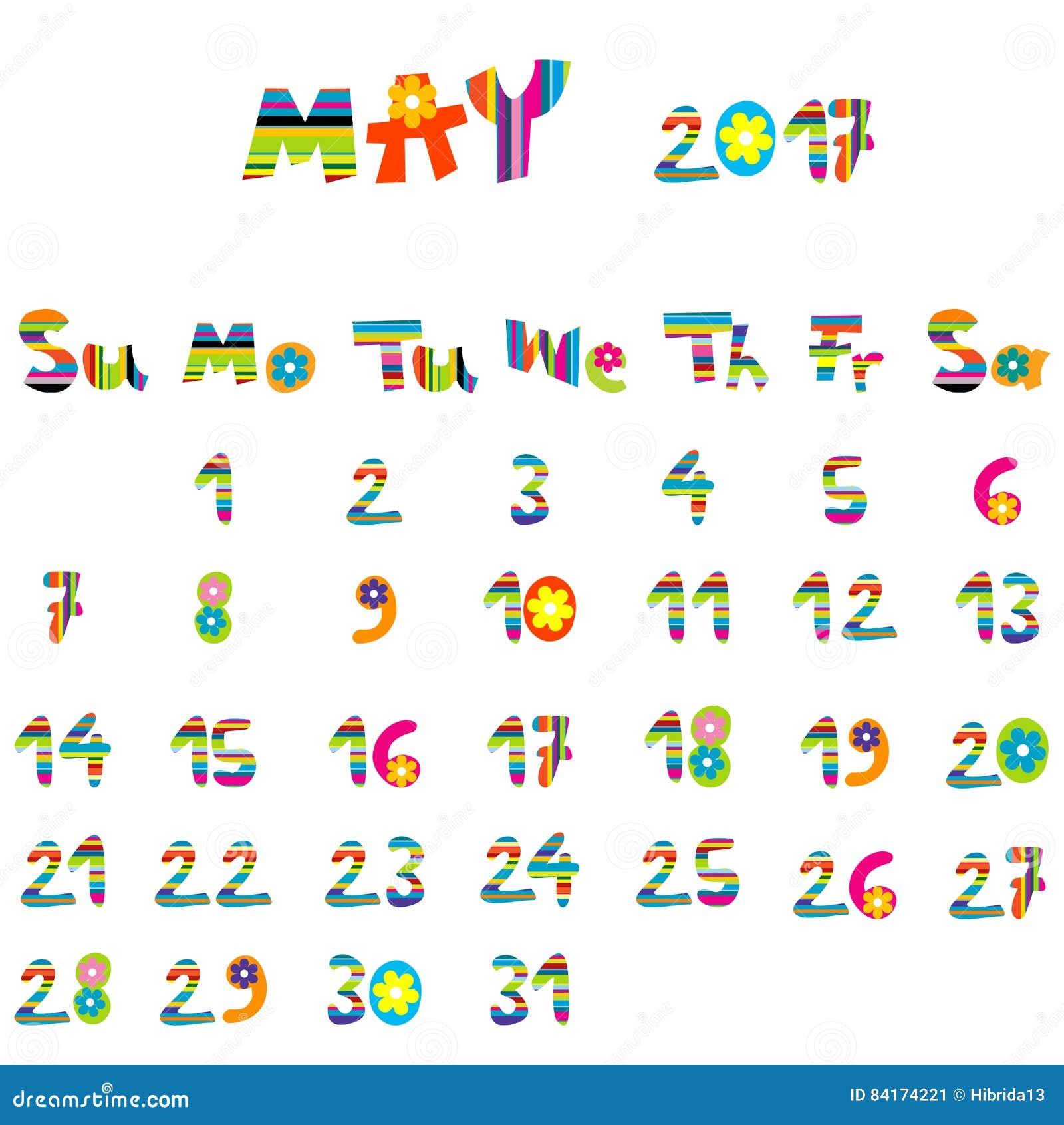 May Calendar Cute : May calendar stock vector image of background cute