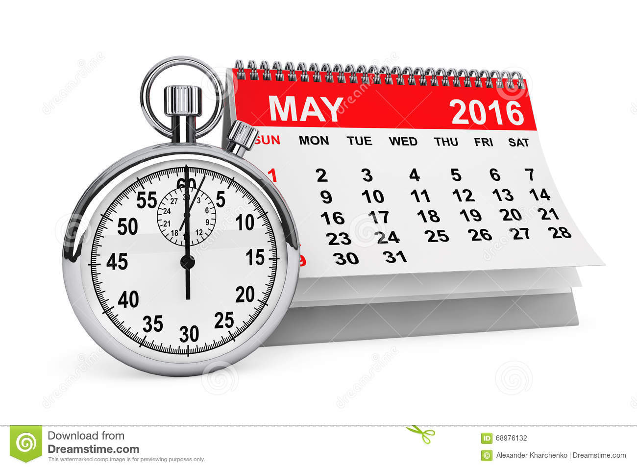 May 2016 calendar with stopwatch
