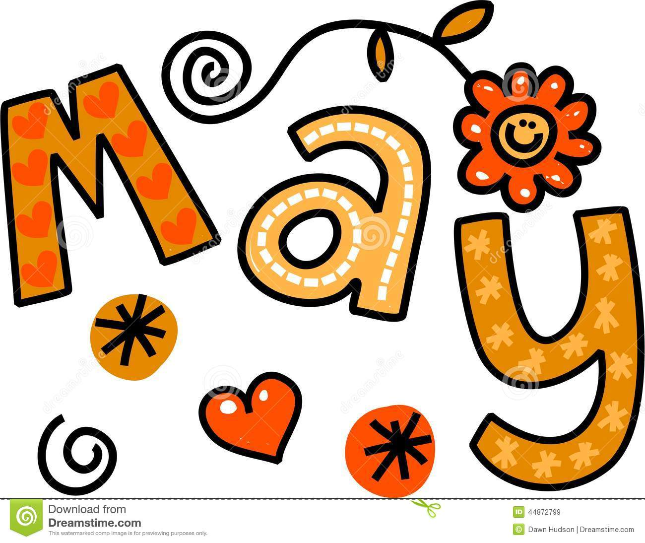 Whimsical cartoon text doodle for the month of May.