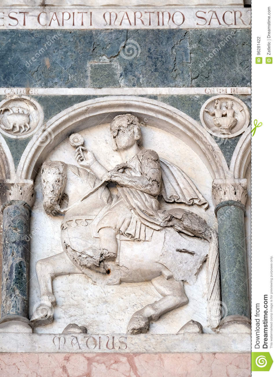 May, detail of the bass-relief representing the Labor of the months of the year, Cathedral in Lucca, Italy