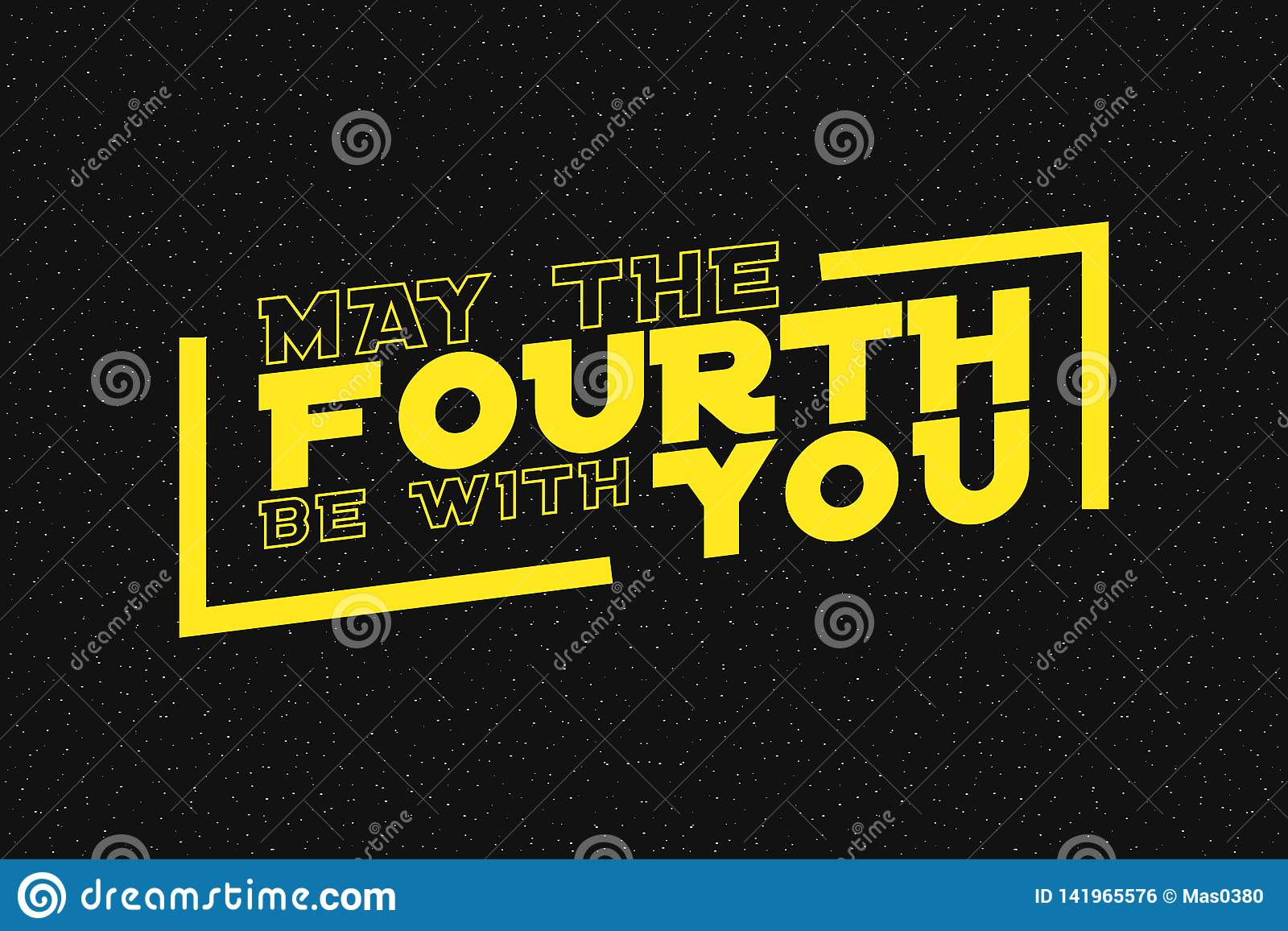 May The Fourth Be With You Lettering On Starry Background Design