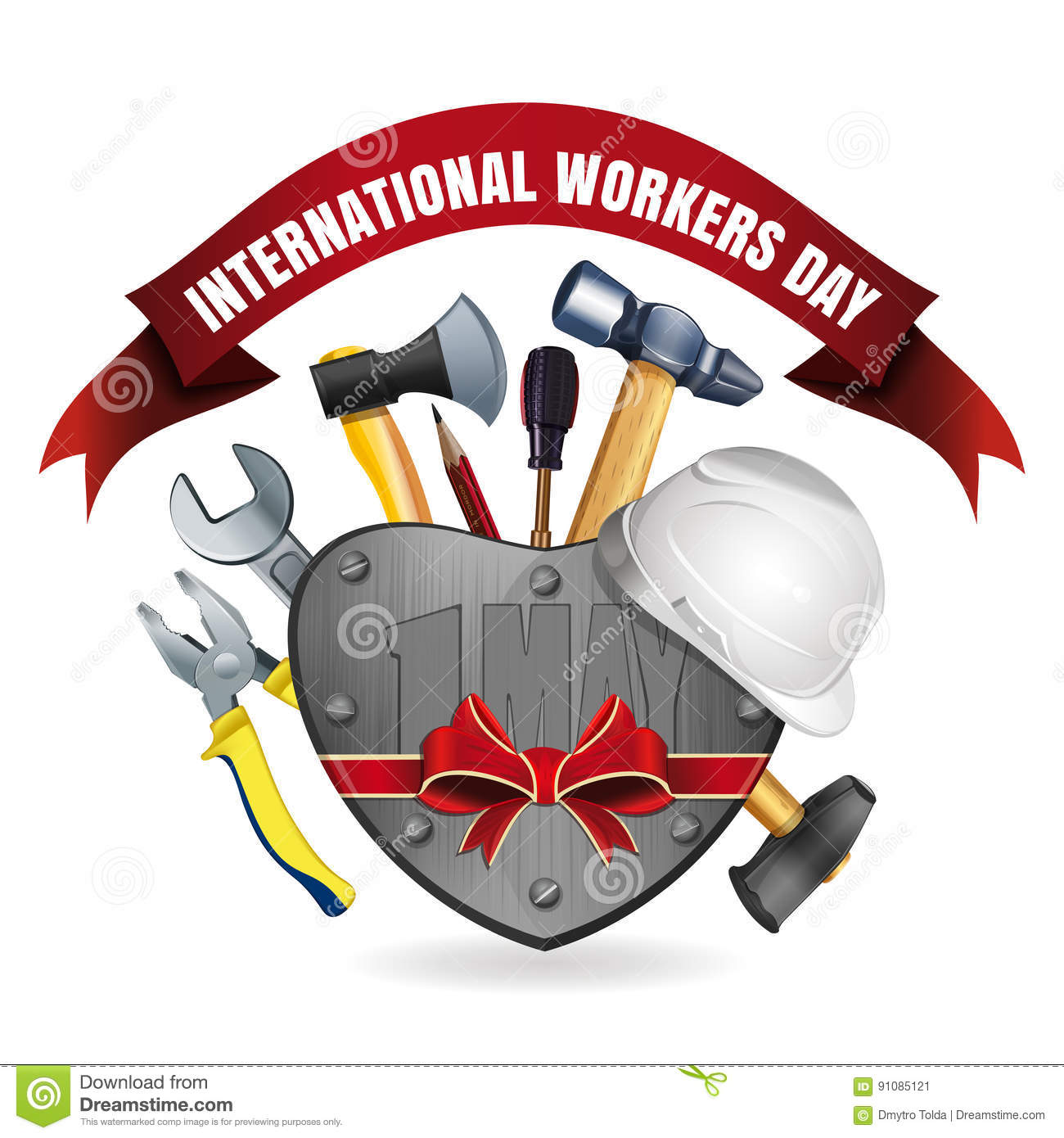 1 May International Workers Day Card Stock Vector Illustration Of