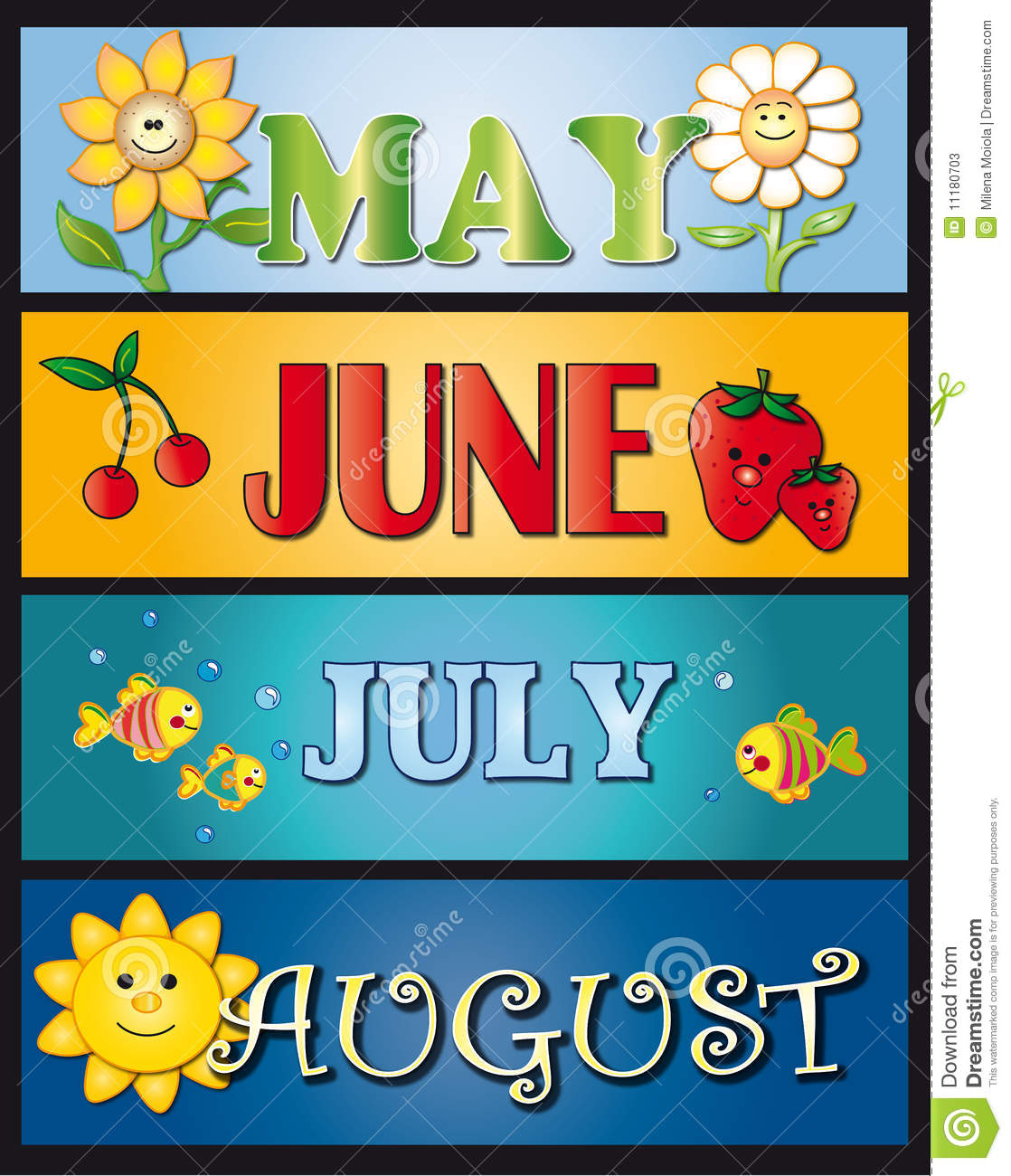 Illustration of the months may june july august. stock 2.