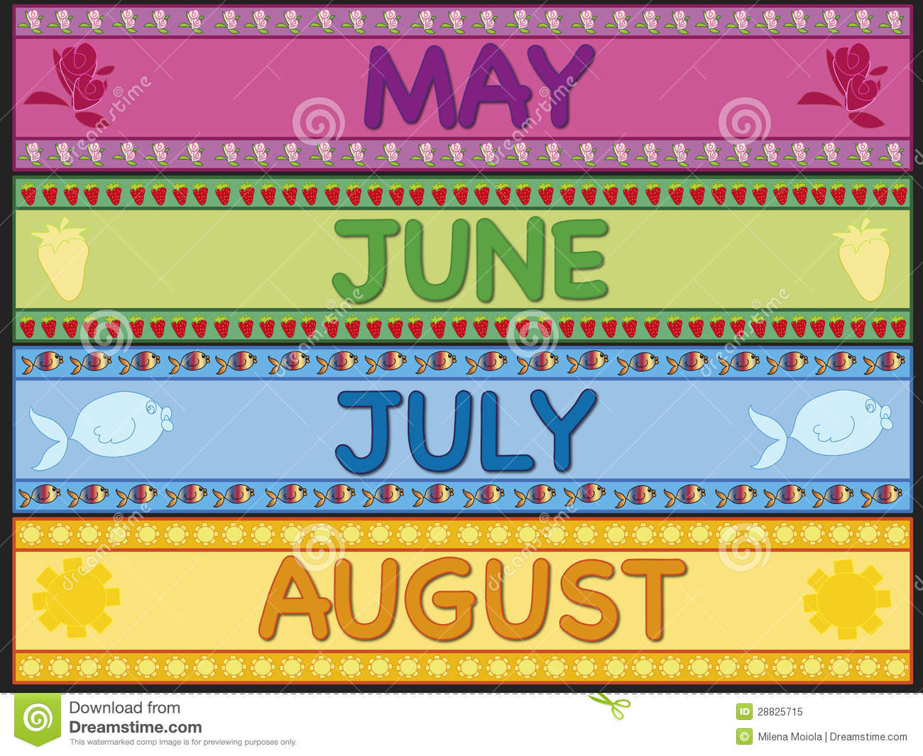 May June July August Royalty Free Stock Photo - Image: 28825715