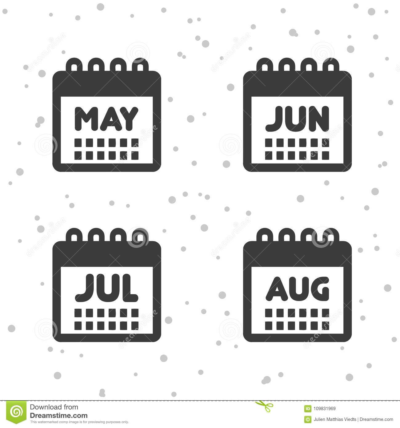 May June July And August Icons Calendar Symbols Stock Vector