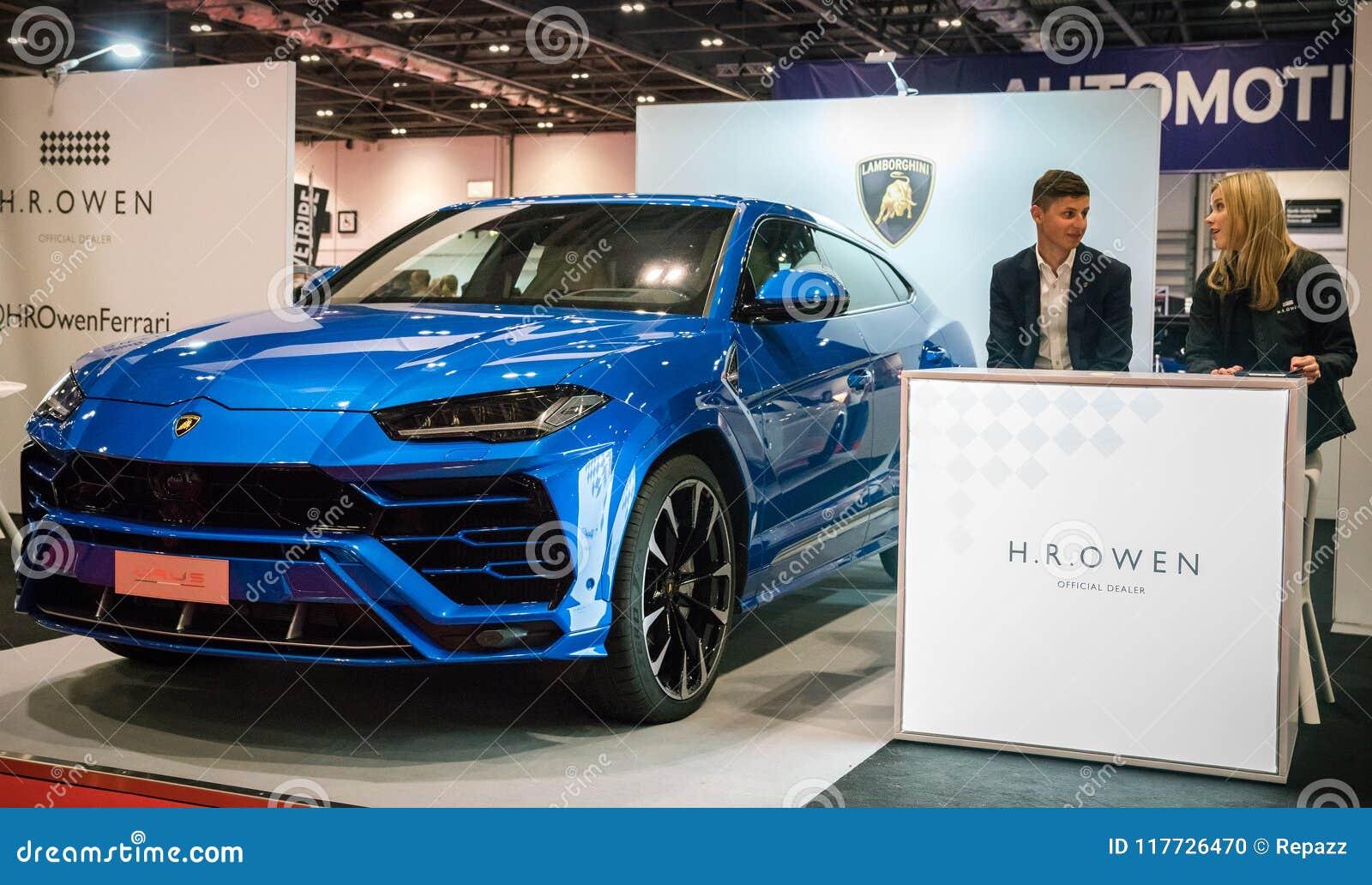 Elegant SUV Lamborghini Urus In Blue Editorial Image , Image