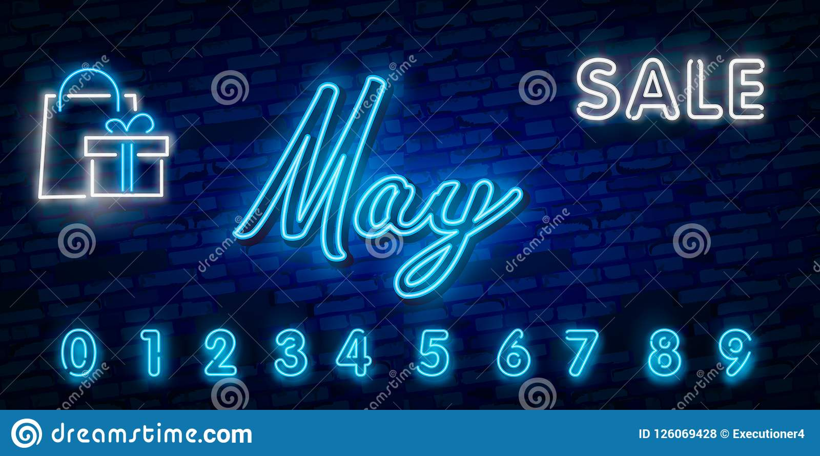 Neon Symbol For May Month Name With Colorful Elements Vector