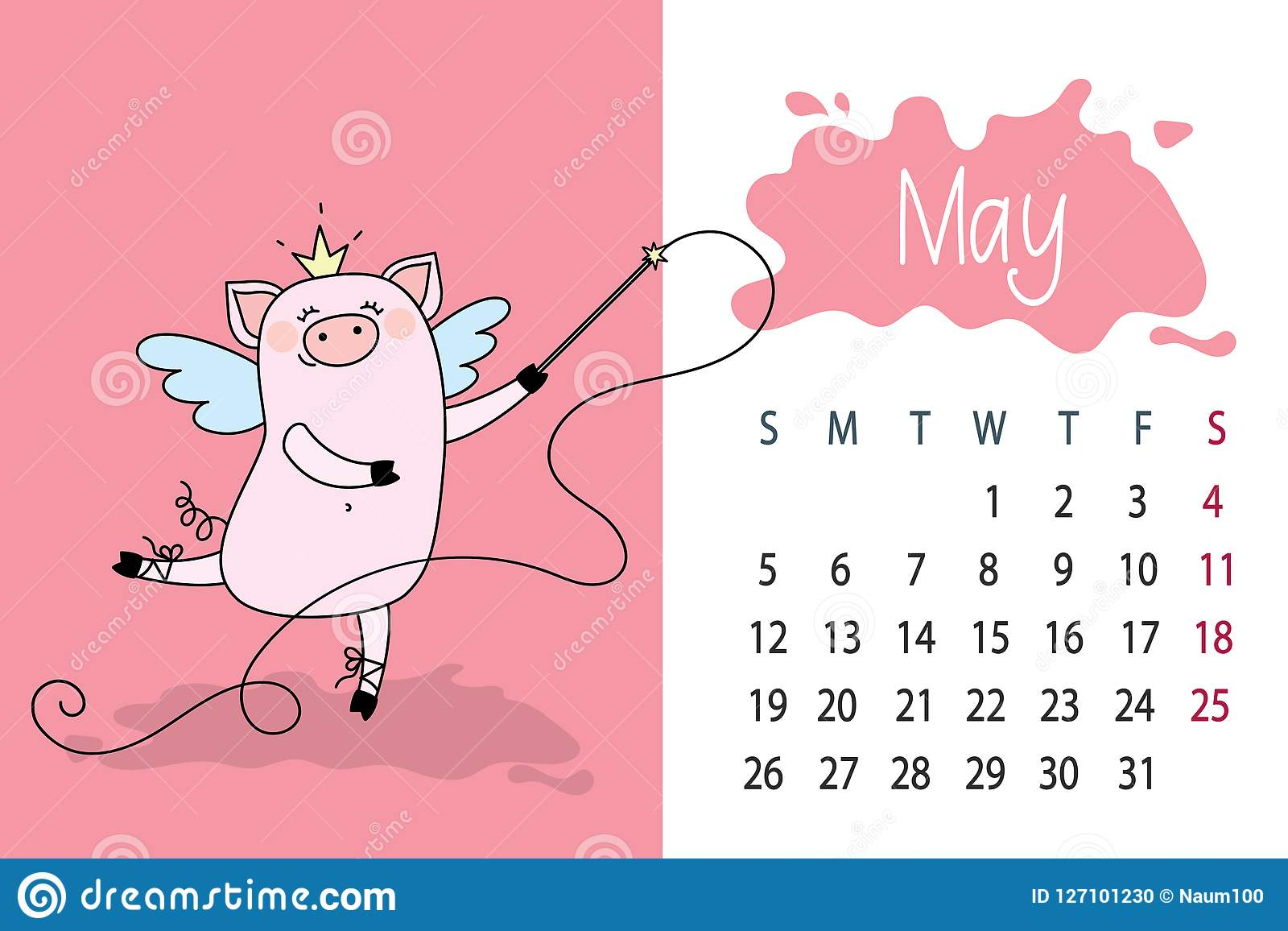 May Month 2019 Year Calendar Page With Cute Pink Pig Funny