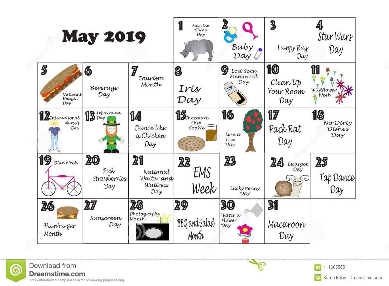 May 2019 Quirky Holidays And Unusual Events Stock
