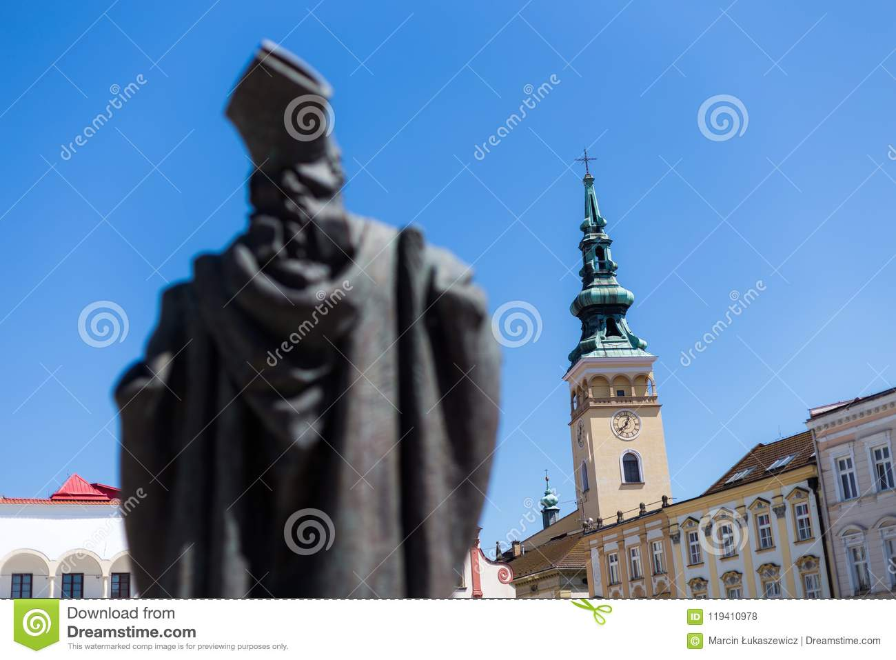 06 May 2018 Novy Jicin Czech Republic Old Market Square In With Church Of The Assumption Virgin Mary